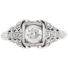 1930s Platinum Filigree with Round Center Diamond