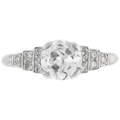 1930s Platinum GIA 1.09 Carat Engagement Ring