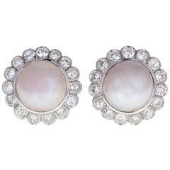 1930s Platinum Mabé Peal Old-Cut Diamond Cluster Earrings