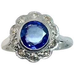 1930s Platinum Round Burma Natural Sapphire and Diamond Cluster Ring