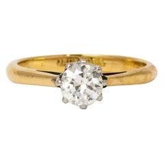 1930s Platinum Set Diamond 18 Karat Gold Solitaire Ring