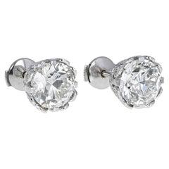 1930s Platinum 'Transition' Cut Diamond Earrings with Diamond Settings