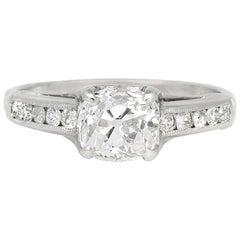 1930s Platinum with 1.47 Carat Old Cushion Center Diamond Engagement Ring