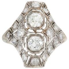 1930s Platinum with Two-Center Diamond and Around Diamonds Ring