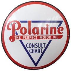 """1930s Polarine Motor Oil """"Consult Chart"""" Porcelain Sign"""