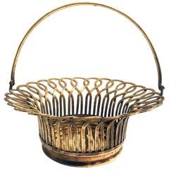 1930s Polished Solid Brass Decorative Basket