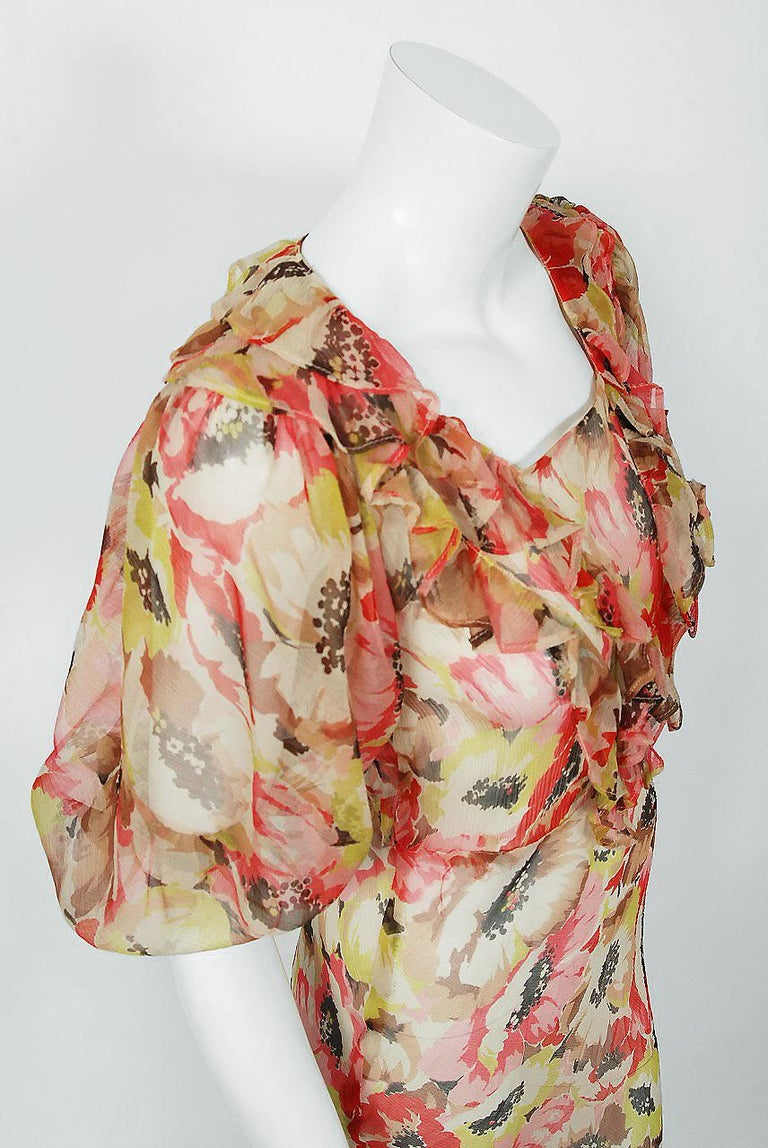 1930's Poppies Floral-Garden Print Sheer Chiffon Puff Sleeve Bias-Cut Gown  In Excellent Condition For Sale In Beverly Hills, CA