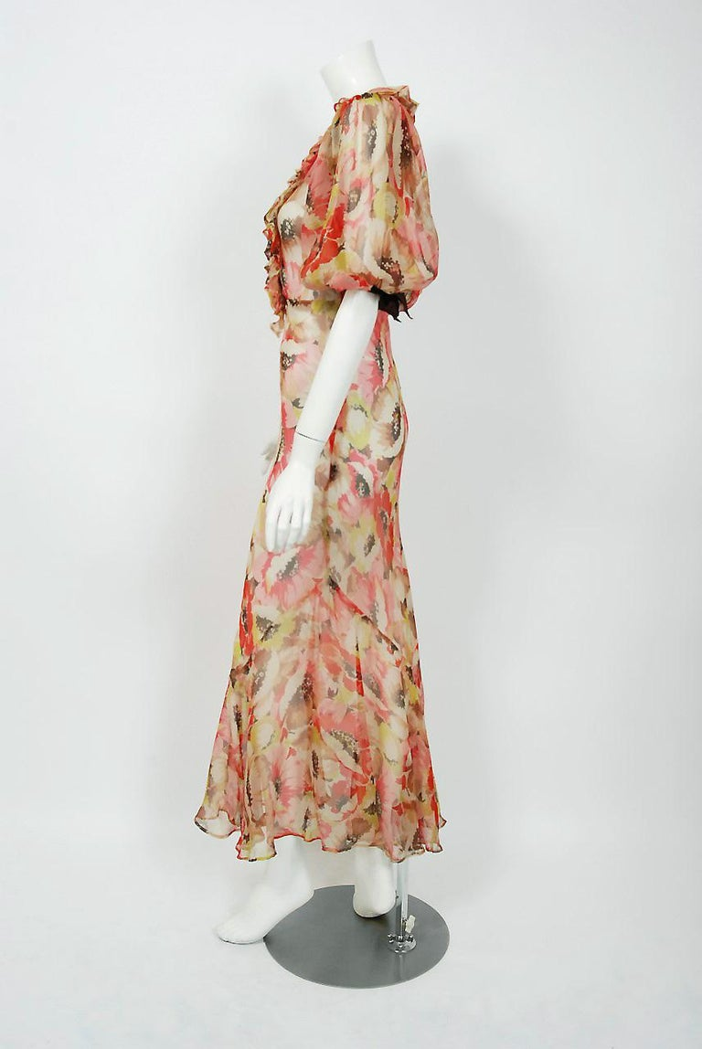 Women's 1930's Poppies Floral-Garden Print Sheer Chiffon Puff Sleeve Bias-Cut Gown  For Sale