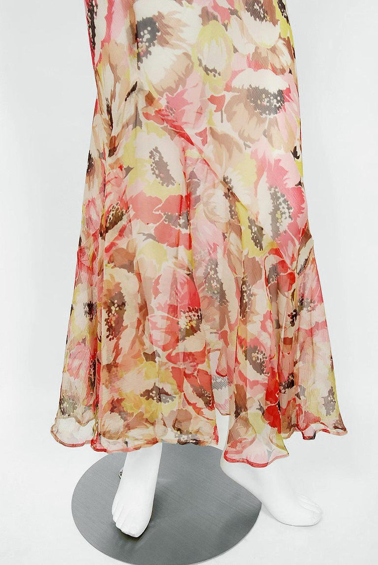 1930's Poppies Floral-Garden Print Sheer Chiffon Puff Sleeve Bias-Cut Gown  For Sale 1