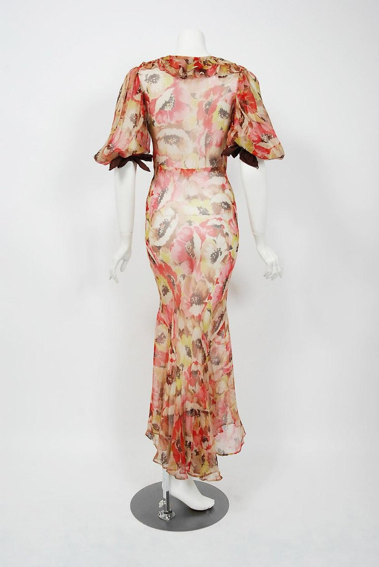 1930's Poppies Floral-Garden Print Sheer Chiffon Puff Sleeve Bias-Cut Gown  For Sale 2