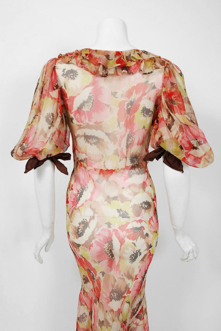 1930's Poppies Floral-Garden Print Sheer Chiffon Puff Sleeve Bias-Cut Gown  For Sale 3