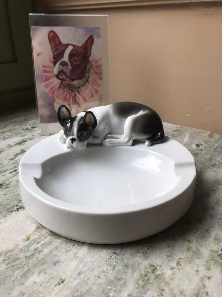 1930s Porcelain Ashtray with French Bulldog by Pfeffer Gotha , Germany  For Sale 2