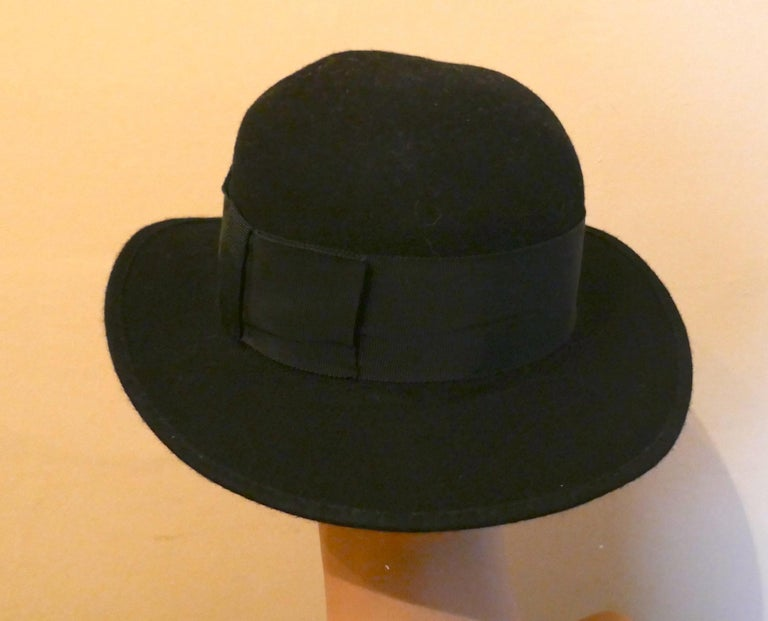 Women's 1930s Pre War Black Cloche Felt Hat  For Sale