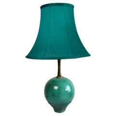 1930s Primavera Green Glazed and Cracked Ceramic Table Lamp