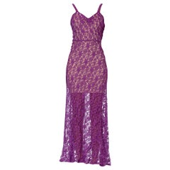 1930S Purple Sheer Rayon Blend Lace Gown
