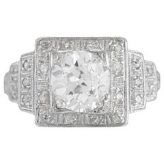 1930s Pyramid Setting Engagement Ring with 1.36 Carat Center Daimond