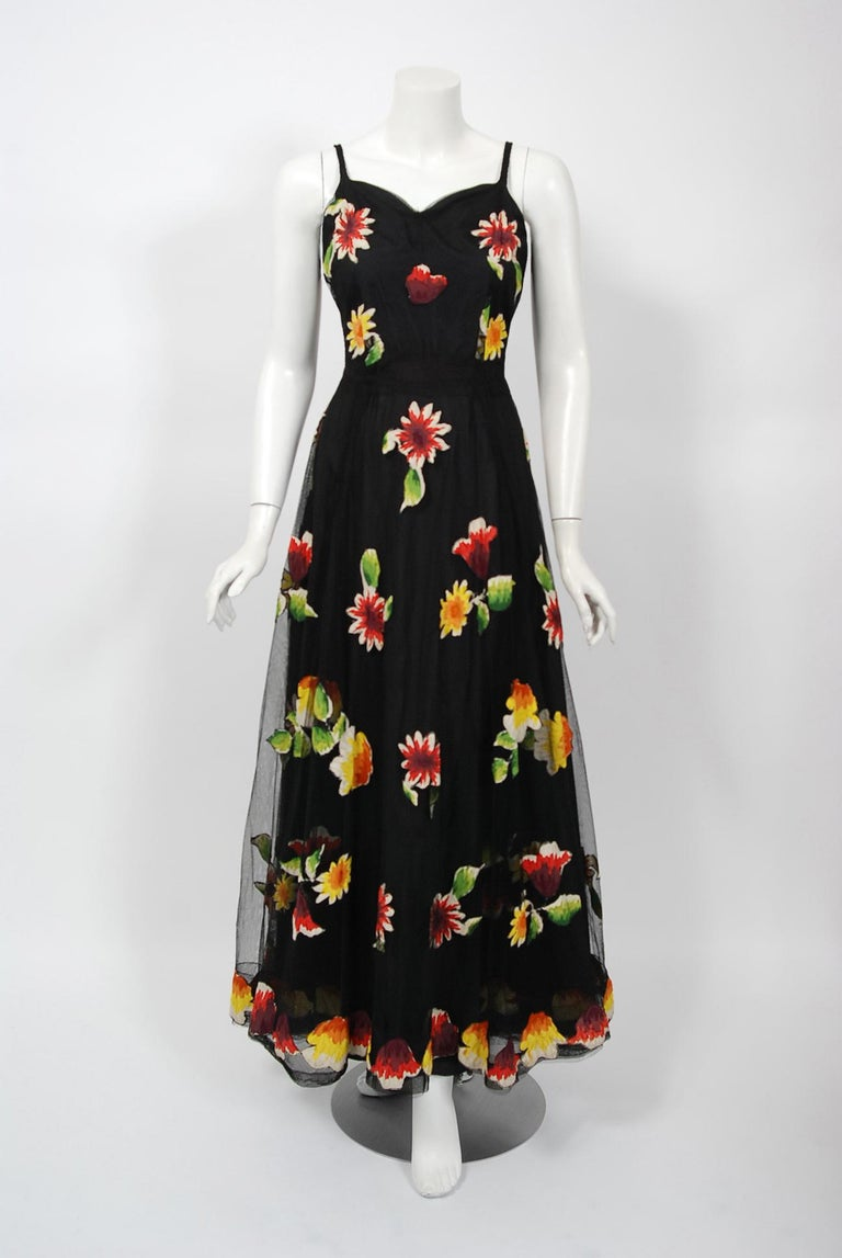 1930's Rainbow Floral Applique Silk & Sheer Net-Tulle Puff Sleeve Gown Ensemble In Good Condition In Beverly Hills, CA
