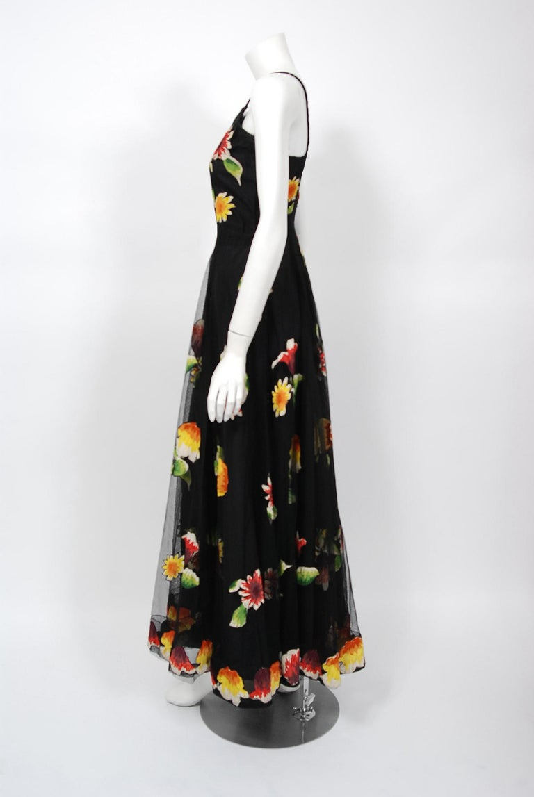 1930's Rainbow Floral Applique Silk & Sheer Net-Tulle Puff Sleeve Gown Ensemble 2