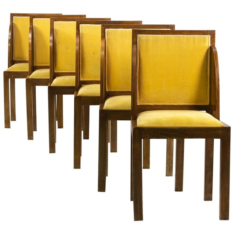 1930s Rare and Beautiful Art Deco Dining Chair, Set of 6