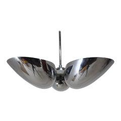 1930s Rare Bauhause Chrome Pendant Lamp, Czechoslovakia