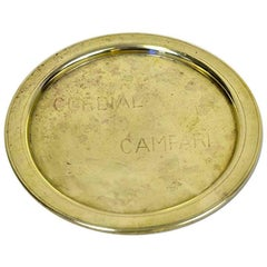 1930s Rare Vintage Italian Cordial Campari Brass Tray