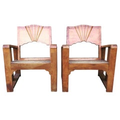 1930s Rattan Seated Armchairs/Deco Sunburst Armchairs