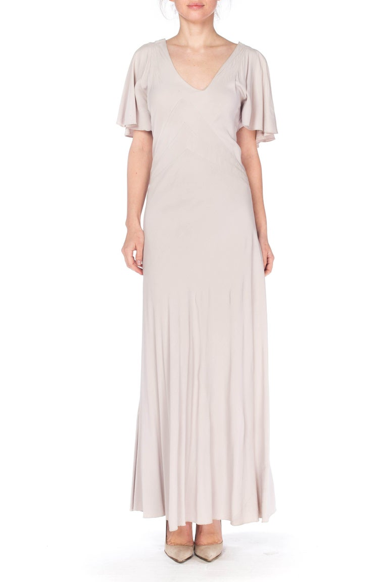 Beige 1930S Grey Rayon Crinkle Crepe Asymmetrical Flutter Sleeve Bias-Cut Gown For Sale