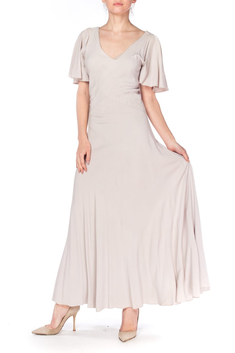 Women's 1930S Grey Rayon Crinkle Crepe Asymmetrical Flutter Sleeve Bias-Cut Gown For Sale