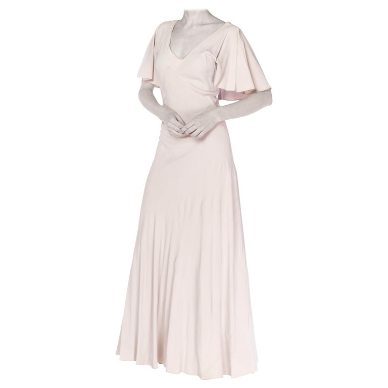 1930S Grey Rayon Crinkle Crepe Asymmetrical Flutter Sleeve Bias-Cut Gown For Sale