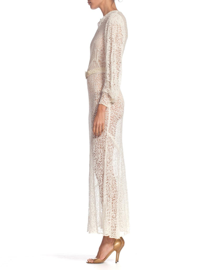 1930S Rayon Lace Bias Cut Vintage Bridal White Dress Gown In Excellent Condition In New York, NY