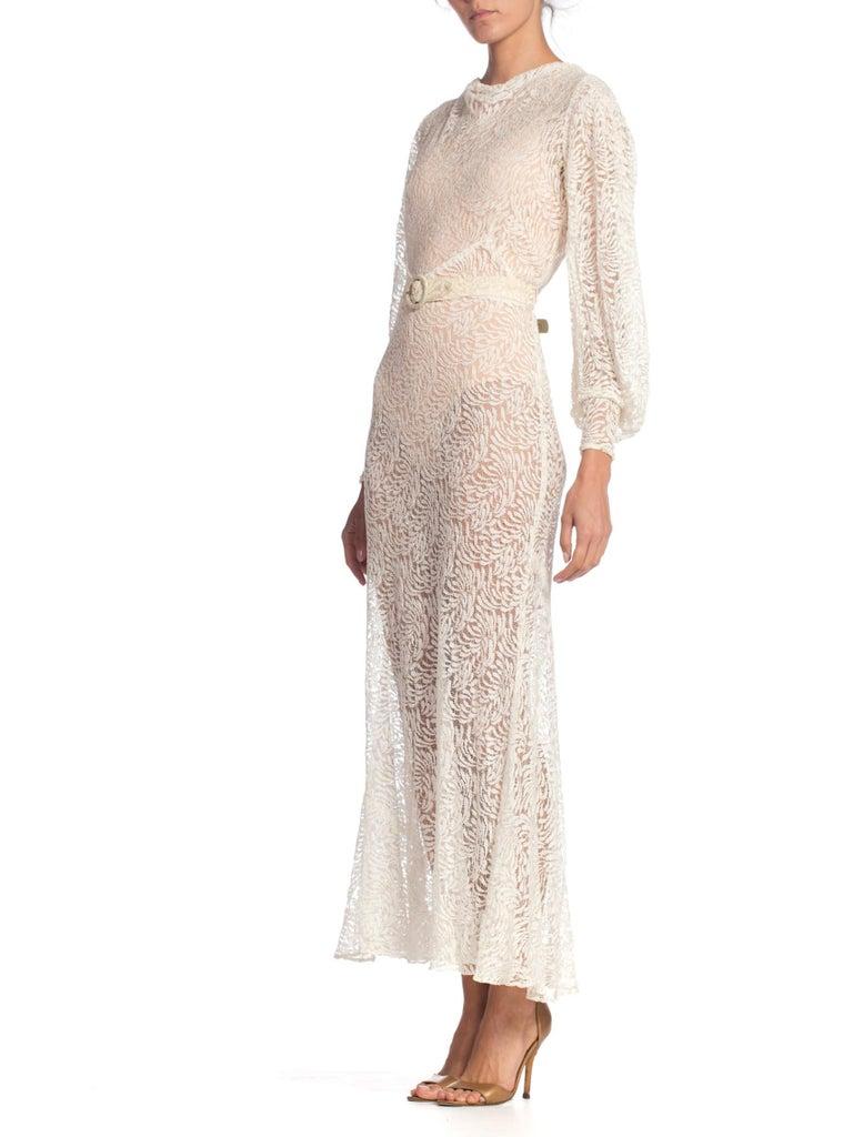 1930S Rayon Lace Bias Cut Vintage Bridal White Dress Gown 1