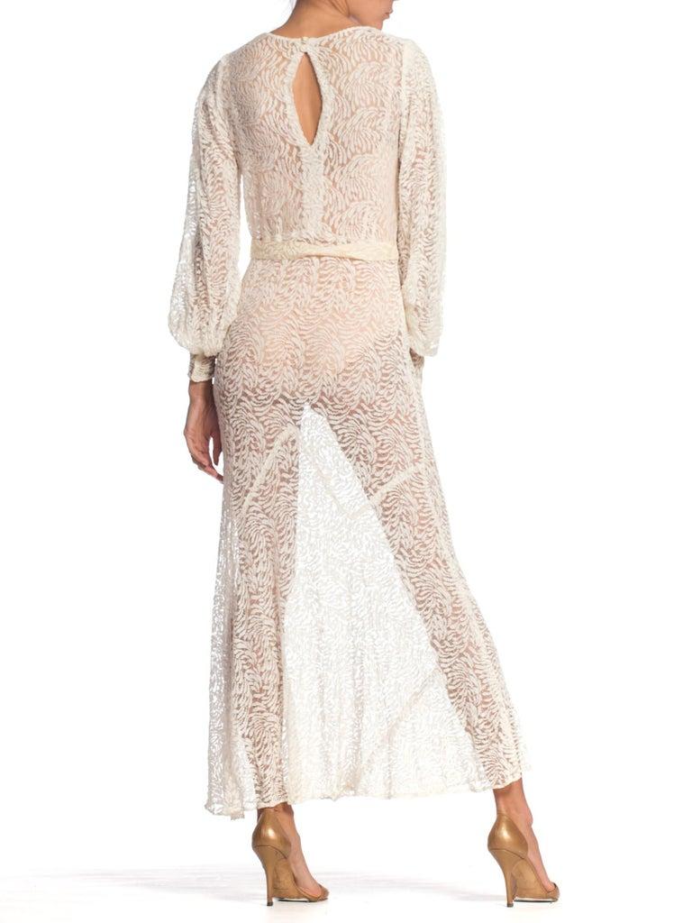 1930S Rayon Lace Bias Cut Vintage Bridal White Dress Gown 2
