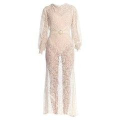 1930S Rayon Lace Bias Cut Vintage Bridal White Dress Gown
