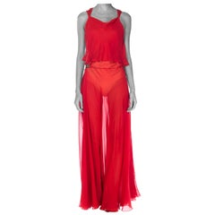1930S Red Sheer Silk Chiffon Bias-Cut Gown With Deco Clasps On Hips