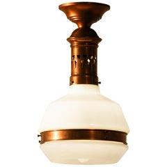 1930s, Red Copper Pendant Lamp with Opaline Glass