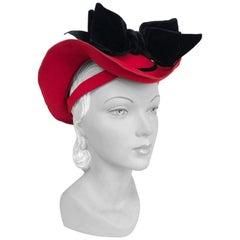 1930s Red Hand-Sculpted Beaver Fur Felt Hat with Velvet Bow