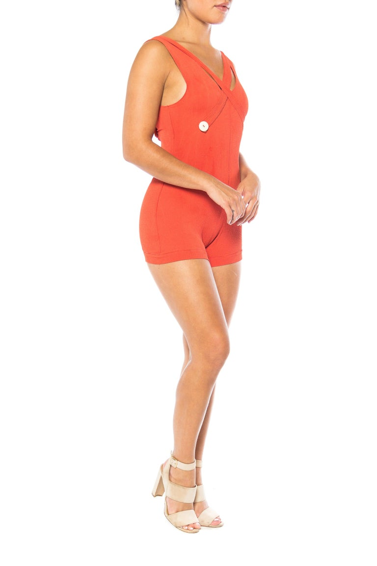 1930S Red Orange Rayon Bathing Suit With Buttons Swimsuit Romper