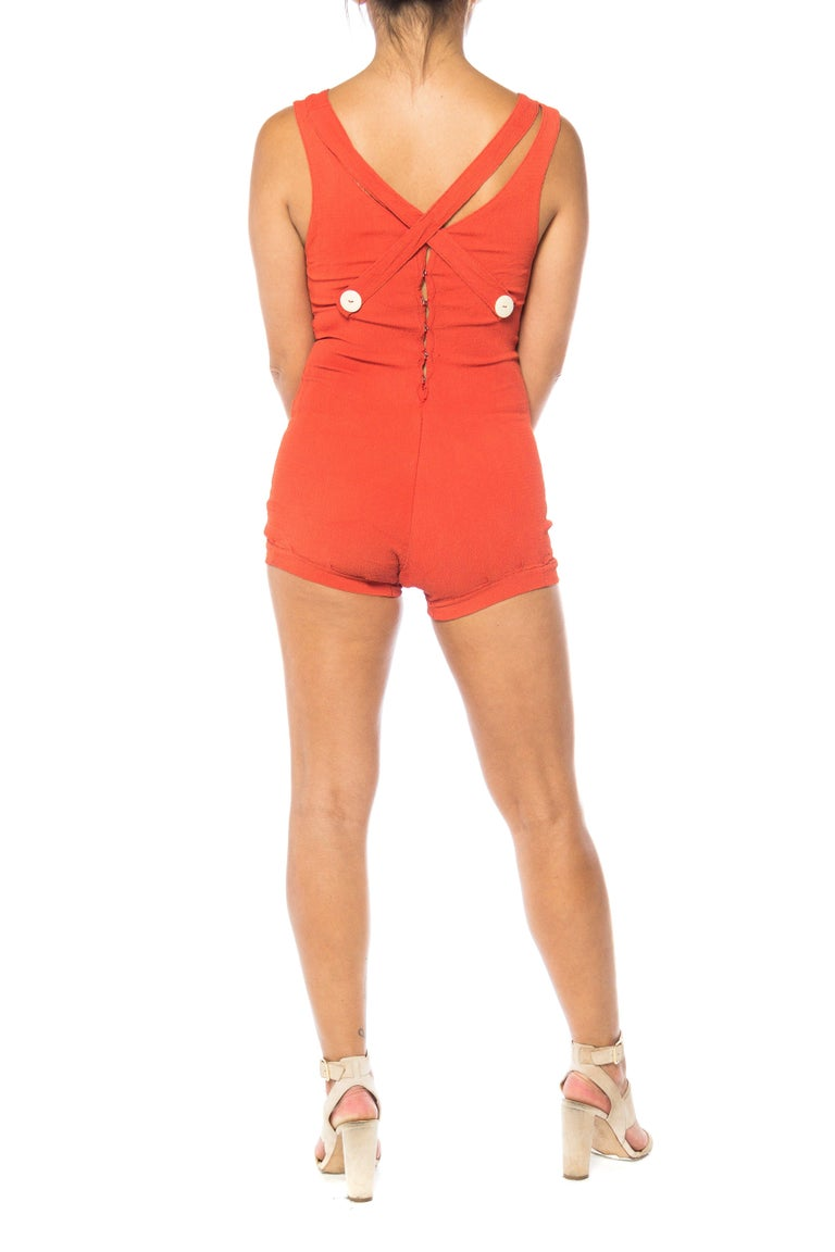 Women's 1930S Red Orange Rayon Bathing Suit With Buttons Swimsuit For Sale