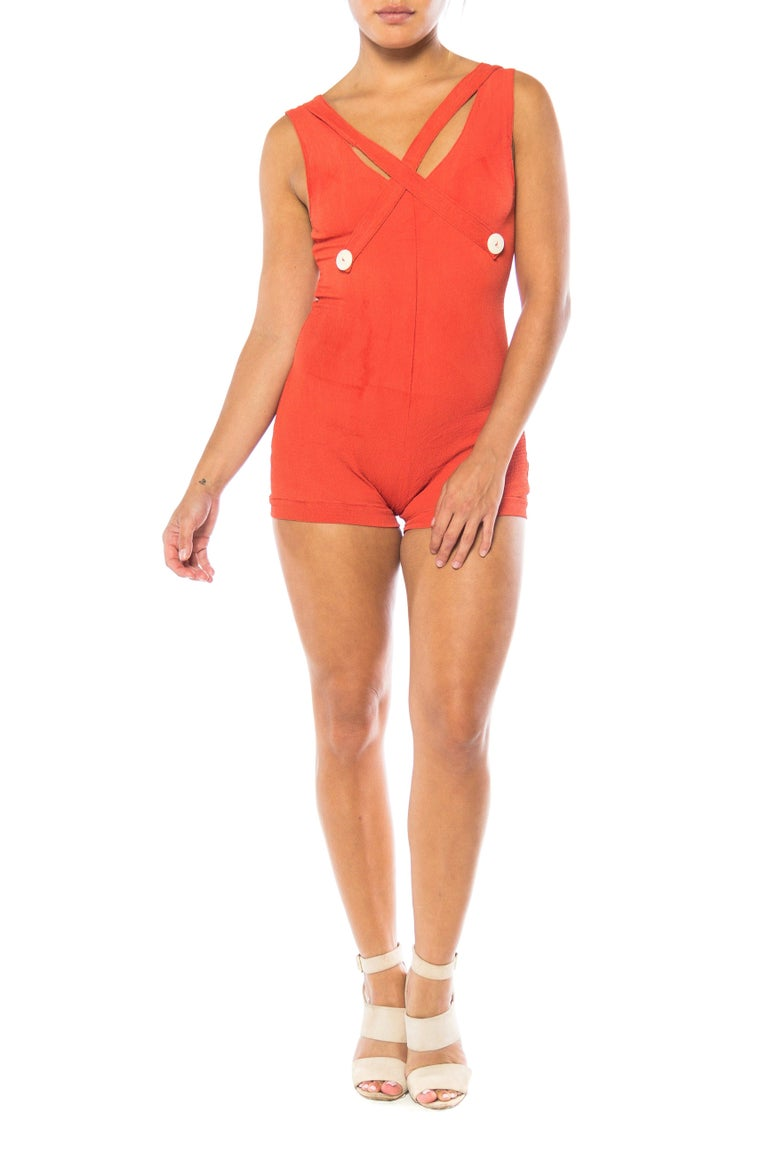 1930S Red Orange Rayon Bathing Suit With Buttons Swimsuit For Sale 1