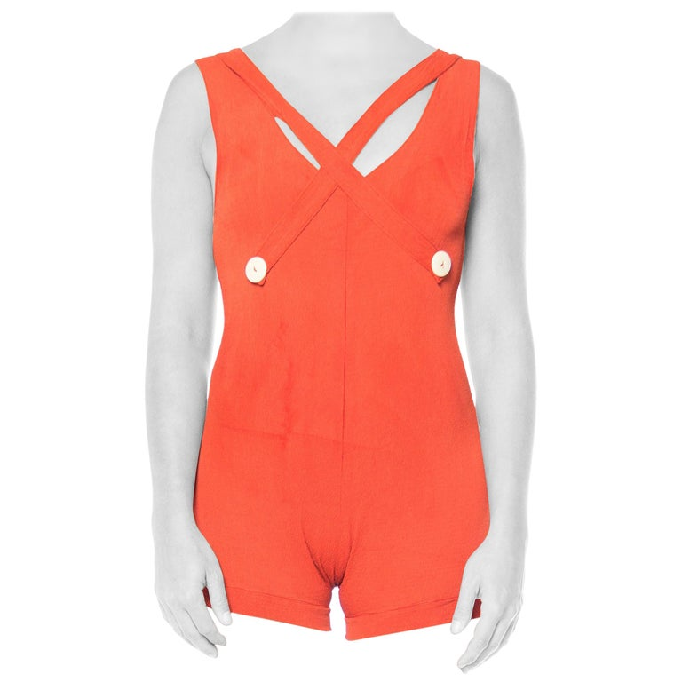 1930S Red Orange Rayon Bathing Suit With Buttons Swimsuit For Sale
