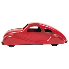 1930s Red Pressed Tin Toy Car
