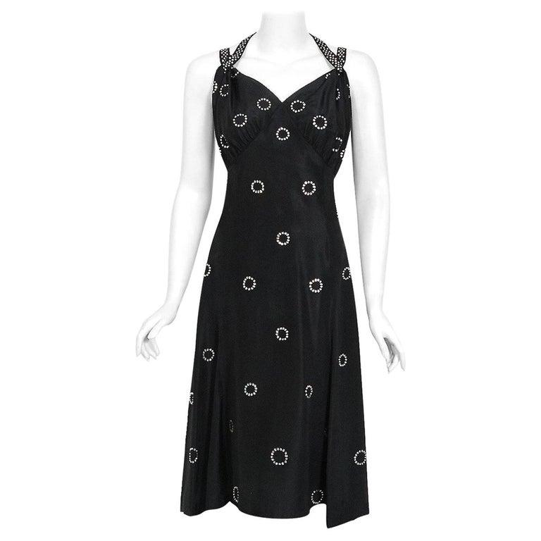 1930's Rhinestone Studded Deco Circles Black Silk Bias-Cut Waterfall Train Dress For Sale