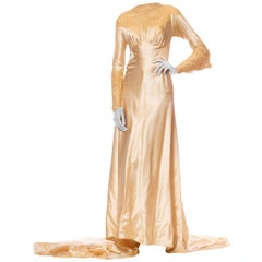 1930'S ROSE AMADO Champagne Bias Cut Silk Satin Wedding Gown With Victorian Han