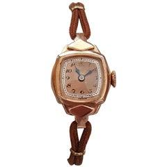 1930s Rose Gold Vintage Bulova Watch, 14 Karat Rose Gold Rolled Gold-Plated