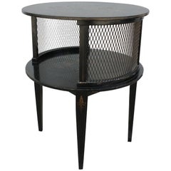 1930s Round Black Hand Painted Side Table