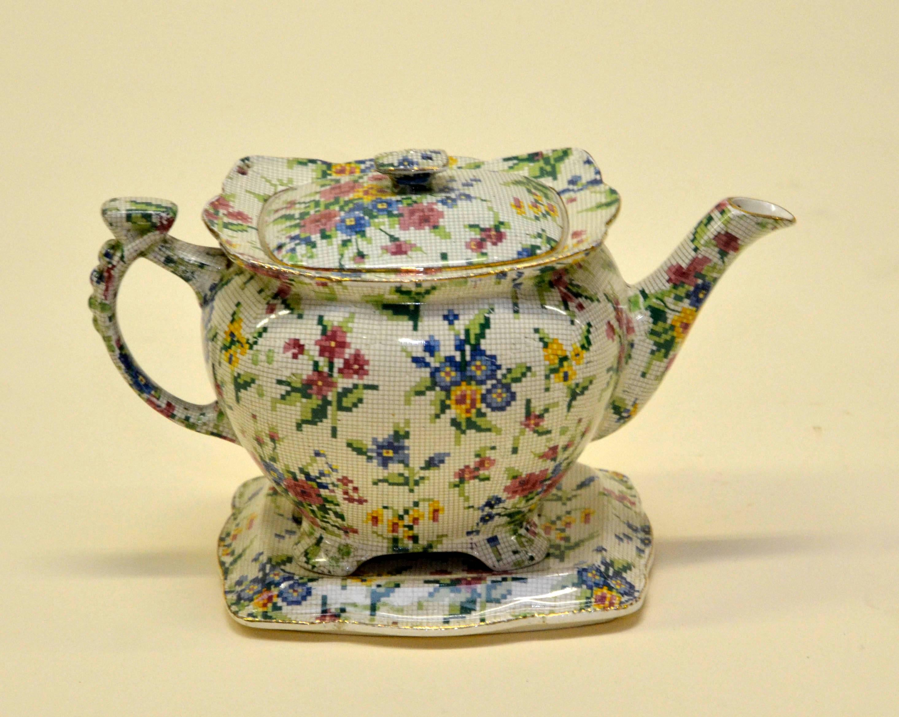 1930s Royal Winton Teapot Queen Anne Needlepoint Pattern Made in ...