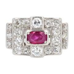 1930s Ruby Diamond Platinum Art Deco Ring