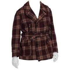 1930S Russet Brown Plaid Wool Men's Montgomery Ward Pea Coat