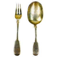 1930s Russian Sterling Silver Baby Spoon and Fork Set