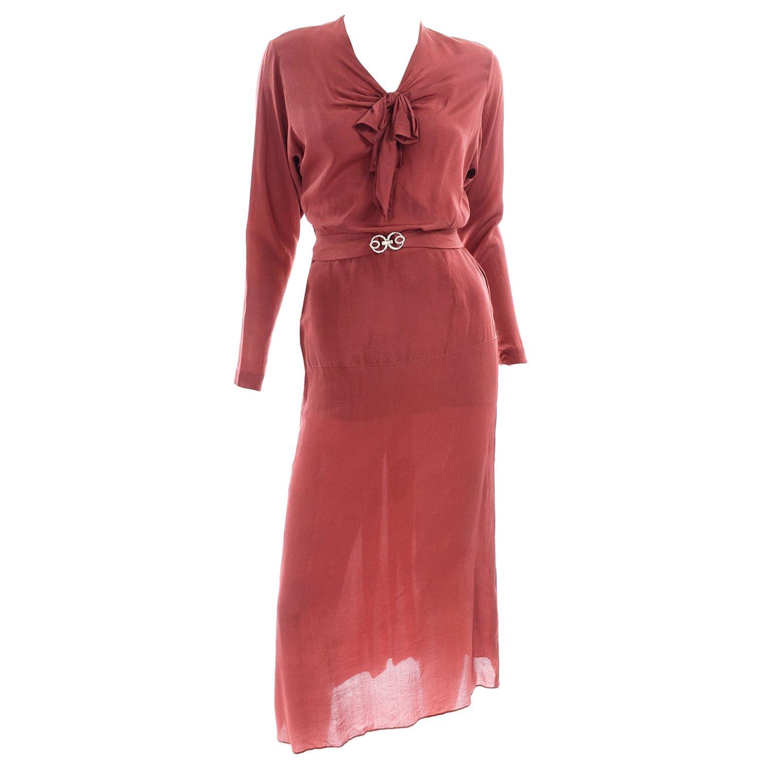 1930s Rusty Red Silk Vintage 2 Pc Bias Dress With Rhinestone Belt and Tie